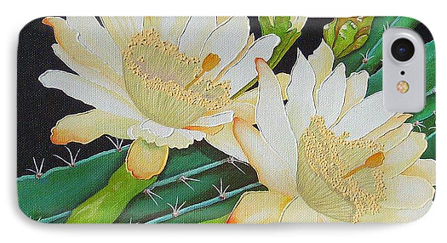 Acrylic IPhone 7 Case featuring the painting Night Blooming Cacti by Carol Sabo