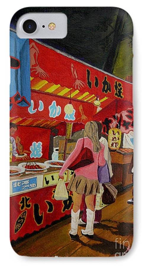 Japan IPhone 7 Case featuring the painting Night Festival by Anthony Dunphy