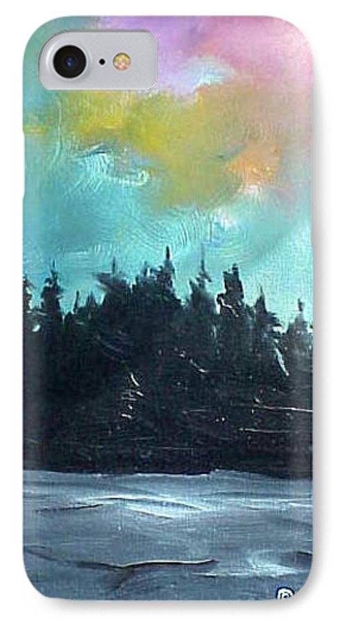 Landscape IPhone 7 Case featuring the painting Night River by Sergey Bezhinets