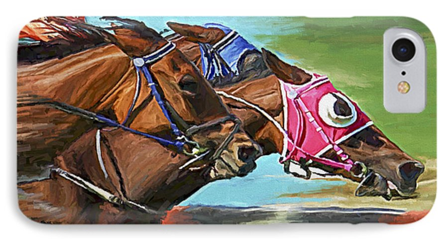 Horses IPhone 7 Case featuring the painting Nikita By A Head by David Wagner
