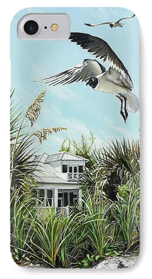 Bird IPhone 7 Case featuring the painting North Shore Landing by Joan Garcia