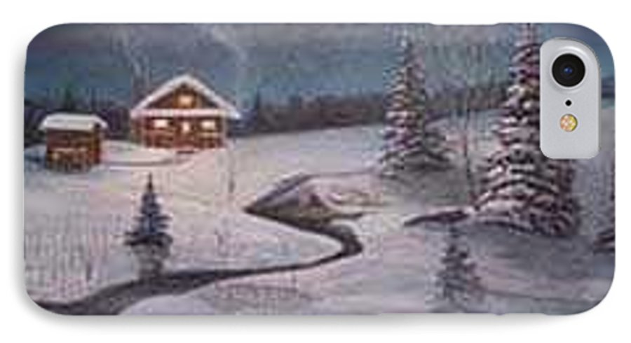 Rick Huotari IPhone 7 Case featuring the painting North Woods Cabin by Rick Huotari