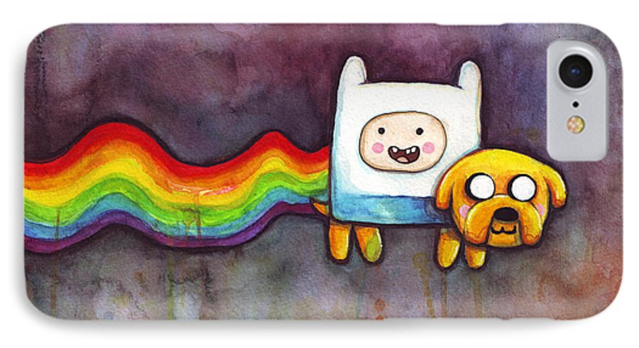 Nyan Cat IPhone 7 Case featuring the painting Nyan Time by Olga Shvartsur