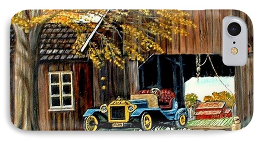 Old Barn Car IPhone 7 Case featuring the painting Old Barn And Old Car by Kenneth LePoidevin