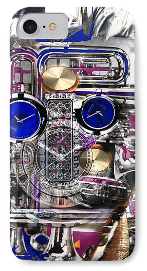 Robotic Time Traveller IPhone 7 Case featuring the digital art Old Blue Eyes by Seth Weaver