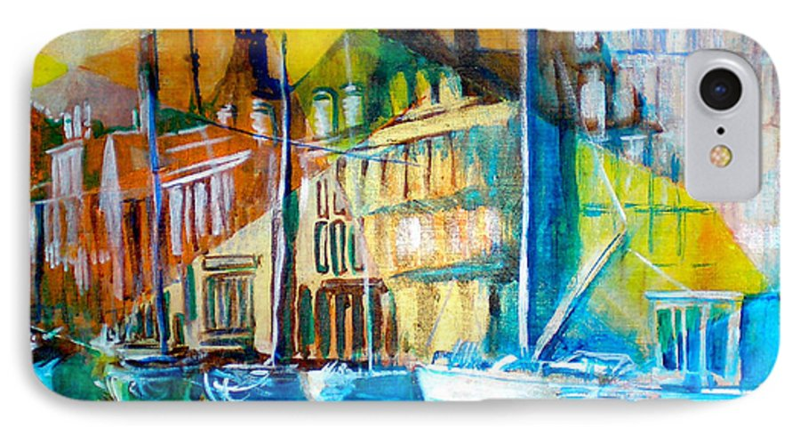 Old World Street IPhone 7 Case featuring the painting Old Copenhagen Thru Stained Glass by Seth Weaver