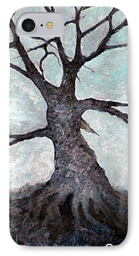 Landscape IPhone 7 Case featuring the painting Old Tree by Sergey Bezhinets