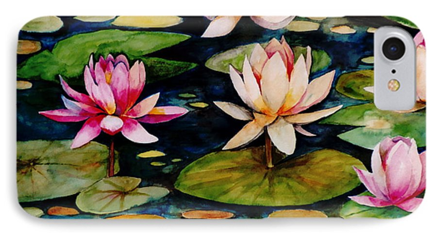 Lily IPhone 7 Case featuring the painting On Lily Pond by Jun Jamosmos