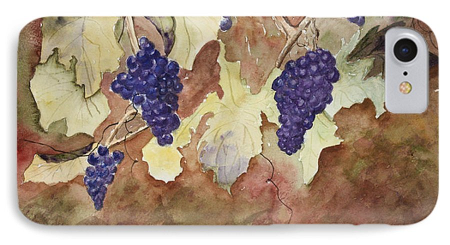 Grapes IPhone 7 Case featuring the painting On The Vine by Patricia Novack