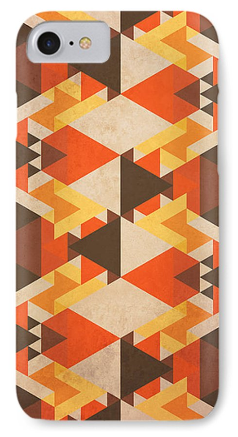 Abstract IPhone 7 Case featuring the digital art Orange Maze by VessDSign