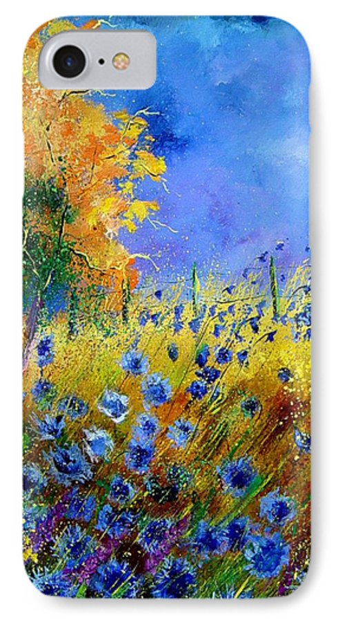 Poppies IPhone 7 Case featuring the painting Orange Tree And Blue Cornflowers by Pol Ledent