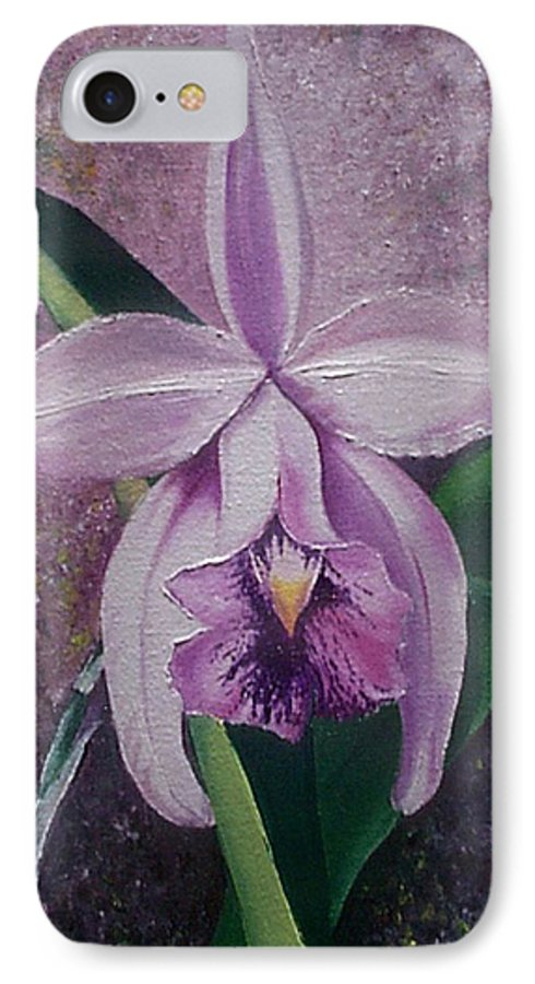 Orchid Purple Floral Botanical IPhone 7 Case featuring the painting Orchid Lalia by Karin Dawn Kelshall- Best