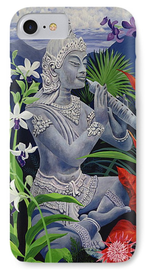 Buddah IPhone 7 Case featuring the painting Out Of The Blue by Danielle Perry