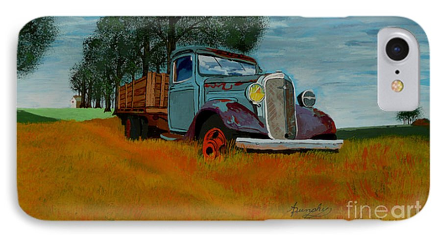 Truck IPhone 7 Case featuring the painting Out To Pasture by Anthony Dunphy