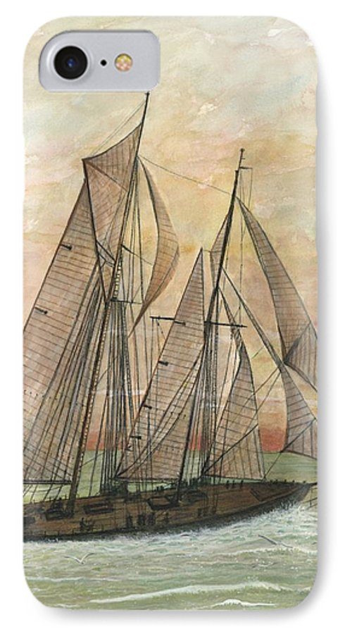 Sailboat; Ocean; Sunset IPhone 7 Case featuring the painting Out To Sea by Ben Kiger