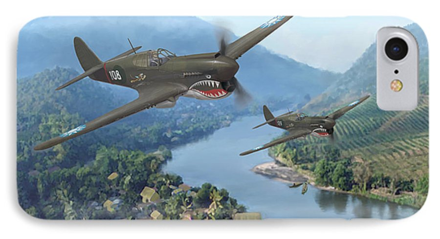 Airplanes IPhone 7 Case featuring the painting P-40 Warhawks Of The 23rd Fg by Mark Karvon