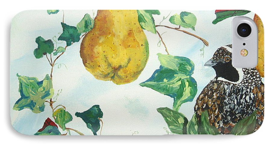 Tree IPhone 7 Case featuring the painting Partridge And Pears by Reina Resto