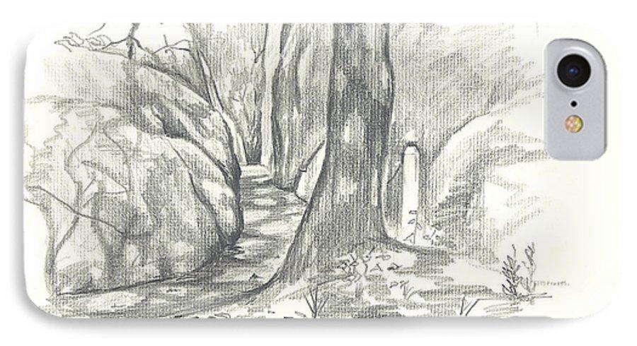 Passageway At Elephant Rocks IPhone 7 Case featuring the drawing Passageway At Elephant Rocks by Kip DeVore