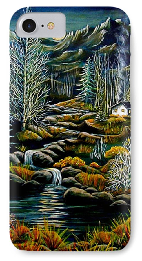 Mountains IPhone 7 Case featuring the painting Peaceful Seclusion by Diana Dearen