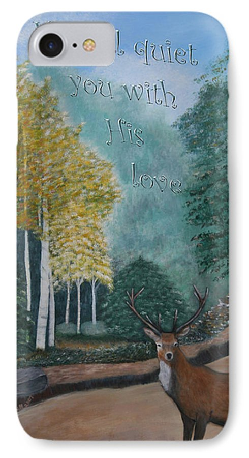 Landscape IPhone 7 Case featuring the painting Peaceful Walk by Mary Grabill