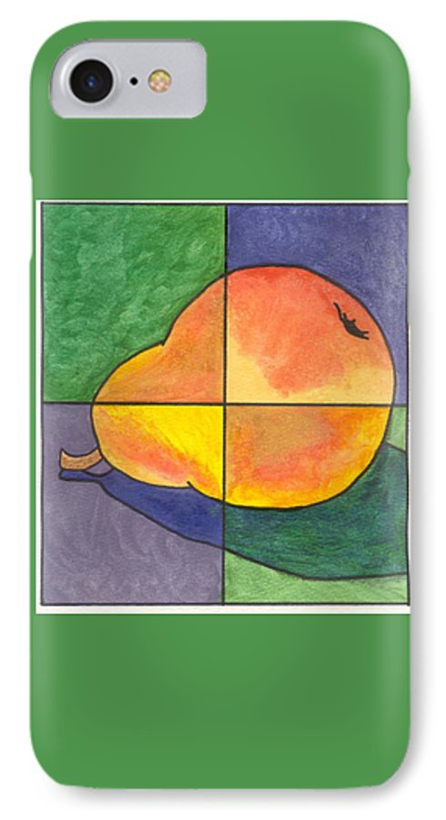 Pear IPhone 7 Case featuring the painting Pear II by Micah Guenther