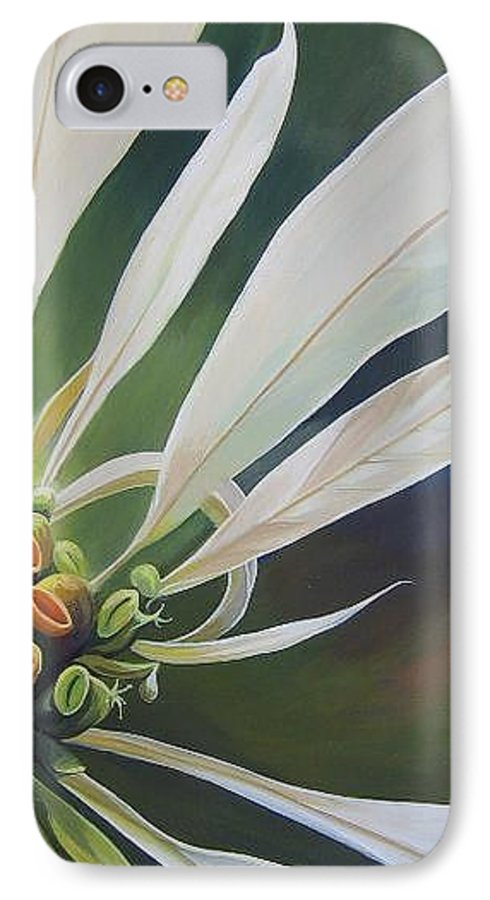 White Poinsettia IPhone 7 Case featuring the painting Phenomenal World by Hunter Jay