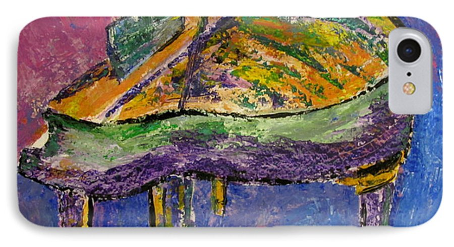 Impressionist IPhone 7 Case featuring the painting Piano Purple by Anita Burgermeister