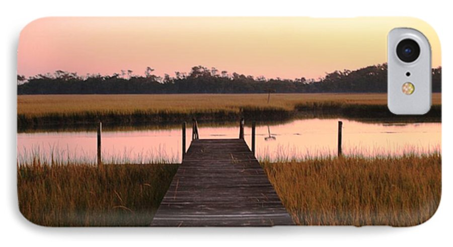 Pink IPhone 7 Case featuring the photograph Pink And Orange Morning On The Marsh by Nadine Rippelmeyer