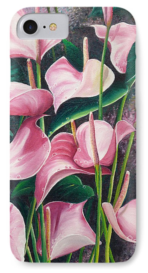 Floral Flowers Lilies Pink IPhone 7 Case featuring the painting Pink Anthuriums by Karin Dawn Kelshall- Best