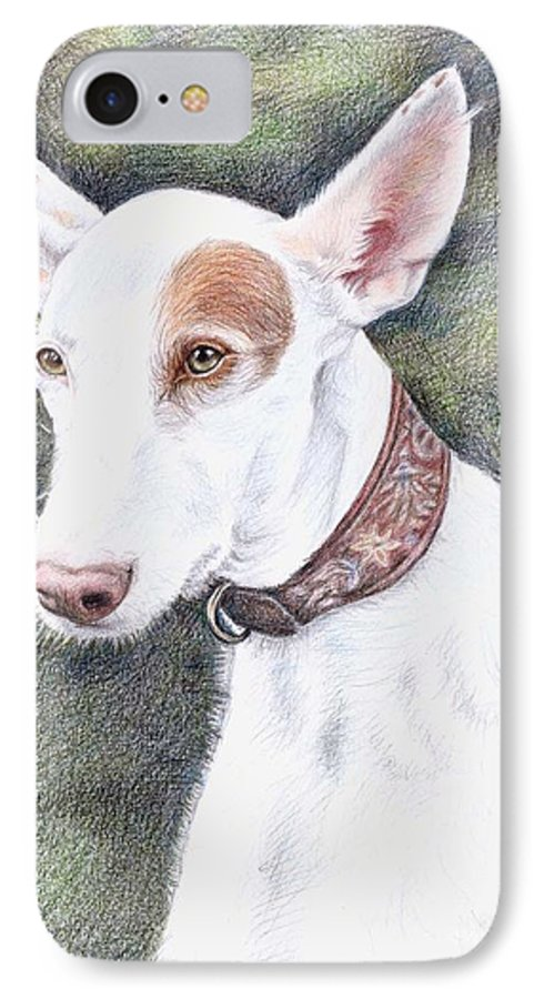 Dog IPhone 7 Case featuring the drawing Podenco Ibicenco by Nicole Zeug