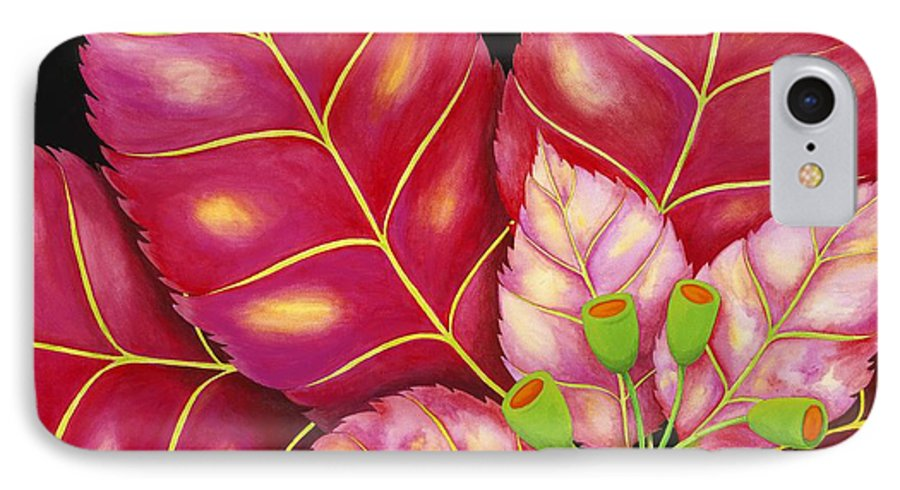Acrylic IPhone 7 Case featuring the painting Poinsettia by Carol Sabo