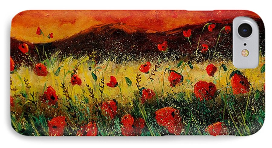 Poppies IPhone 7 Case featuring the painting Poppies 68 by Pol Ledent