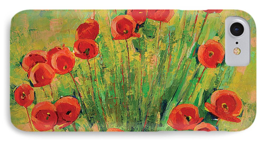 Poppies IPhone 7 Case featuring the painting Poppies by Iliyan Bozhanov