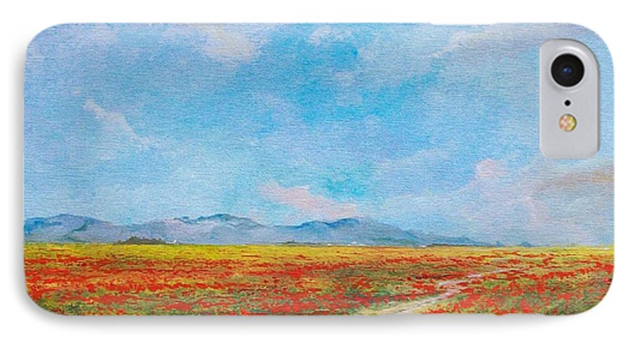 Poppy Field IPhone 7 Case featuring the painting Poppy Field by Sinisa Saratlic