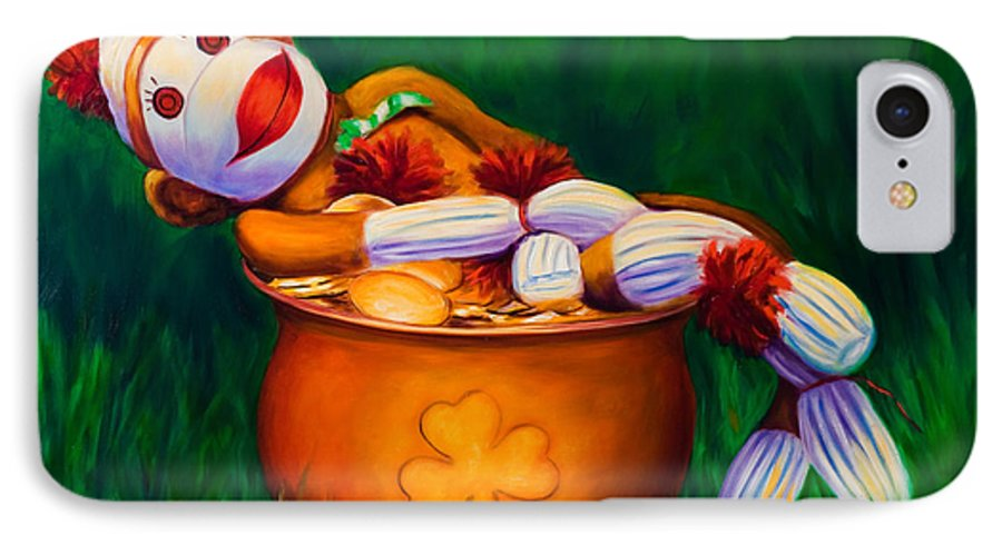 St. Patrick's Day IPhone 7 Case featuring the painting Pot O Gold by Shannon Grissom