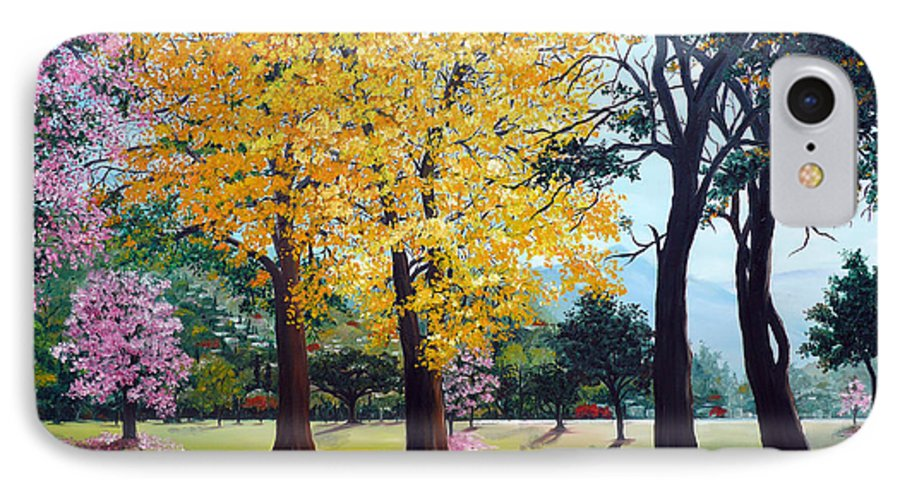 Tree Painting Landscape Painting Caribbean Painting Poui Tree Yellow Blossoms Trinidad Queens Park Savannah Port Of Spain Trinidad And Tobago Painting Savannah Tropical Painting IPhone 7 Case featuring the painting Poui Trees In The Savannah by Karin Dawn Kelshall- Best
