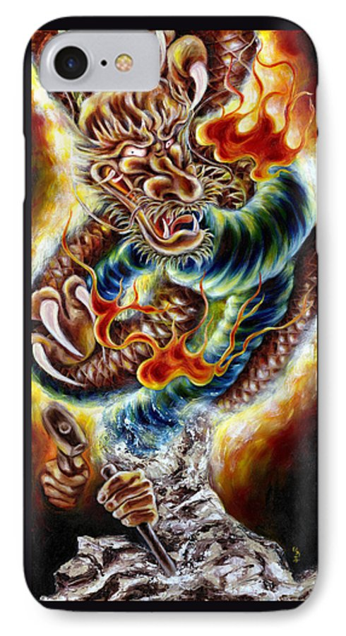 Caving IPhone 7 Case featuring the painting Power Of Spirit by Hiroko Sakai