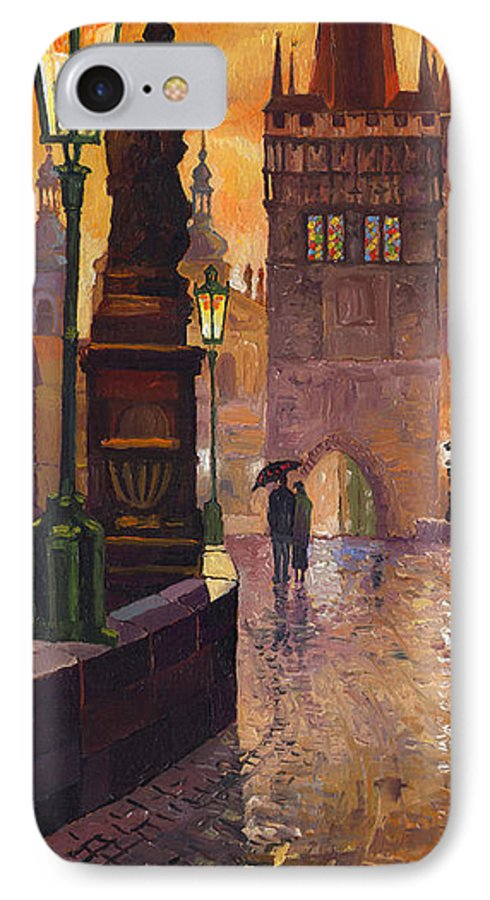 Prague IPhone 7 Case featuring the painting Prague Charles Bridge 01 by Yuriy Shevchuk