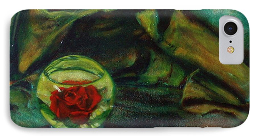Still Life IPhone 7 Case featuring the painting Preserved Rose . . Draped Canvas by Sean Connolly