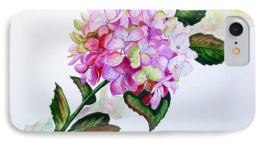 Hydrangea Painting Floral Painting Flower Pink Hydrangea Painting Botanical Painting Flower Painting Botanical Painting Greeting Card Painting Painting IPhone 7 Case featuring the painting Pretty In Pink by Karin Dawn Kelshall- Best