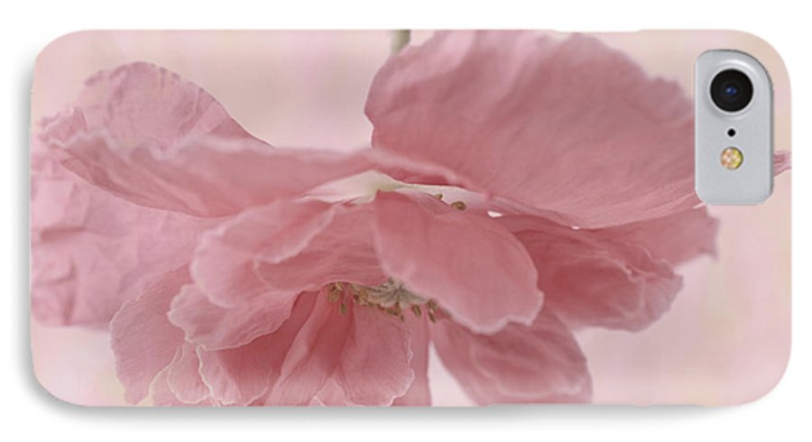 Poppy IPhone 7 Case featuring the photograph Pretty Pink Poppy Macro by Sandra Foster