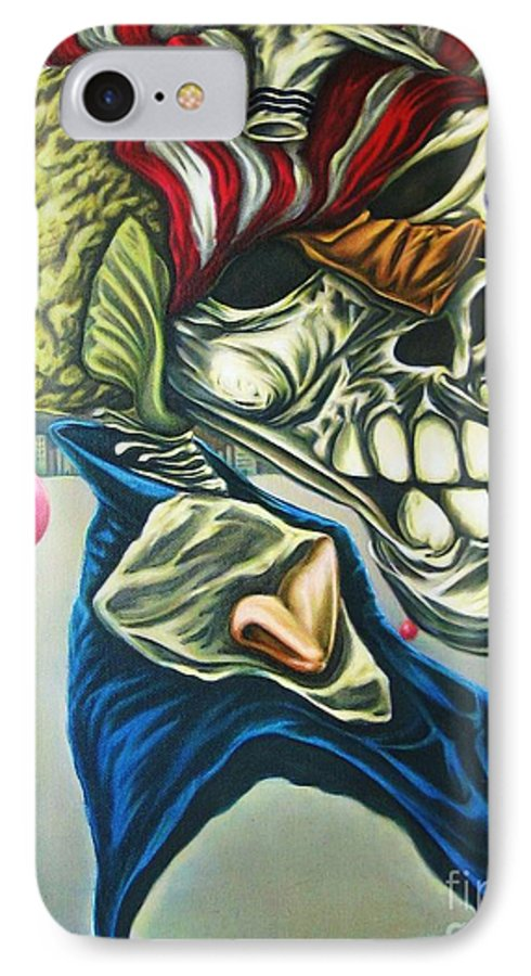 Surrealism IPhone 7 Case featuring the painting Pseudo-archaic Portrait Of An Imaginary Hometown Hero During A Slow Process Of Decomposition by Mack Galixtar