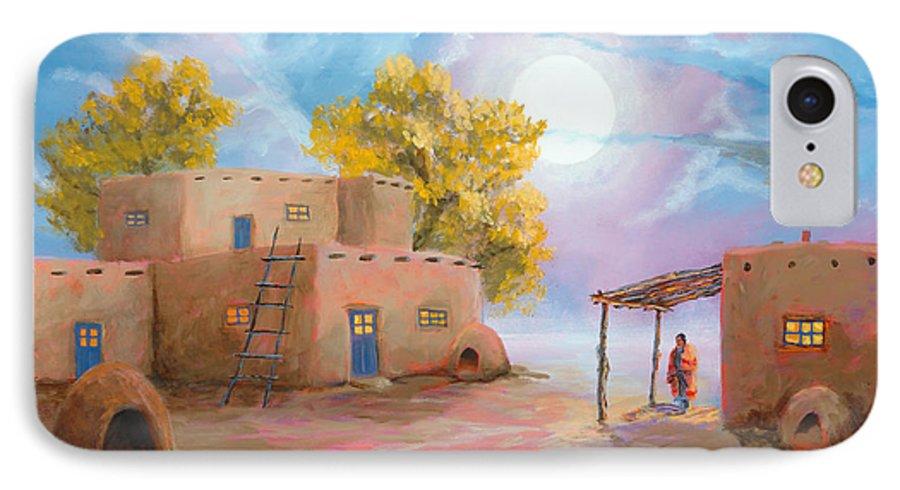 Pueblo IPhone 7 Case featuring the painting Pueblo De Las Lunas by Jerry McElroy