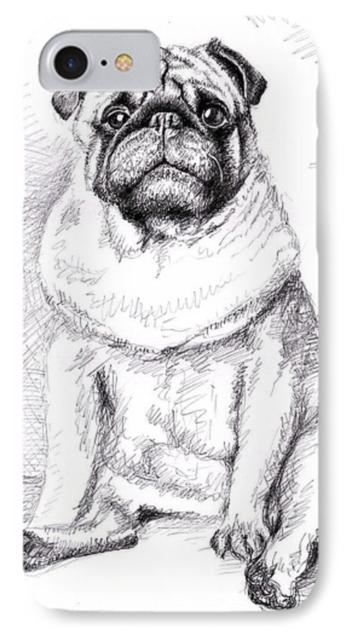 Dog IPhone 7 Case featuring the drawing Pug Anton by Nicole Zeug