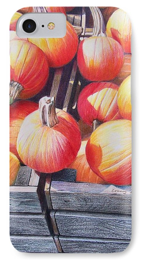 Pumpkins IPhone 7 Case featuring the painting Pumpkins by Constance Drescher