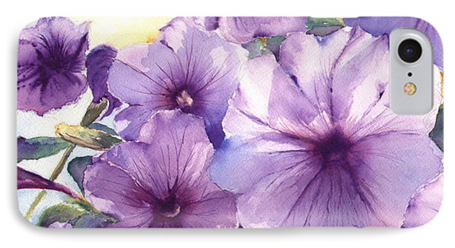 Purple IPhone 7 Case featuring the painting Purple Profusion by Patricia Henderson