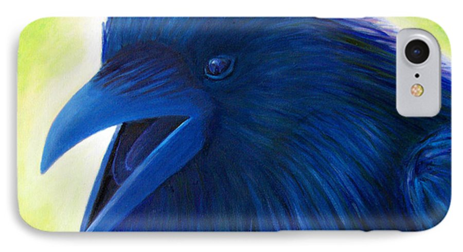 Raven IPhone 7 Case featuring the painting Raaawk by Brian Commerford