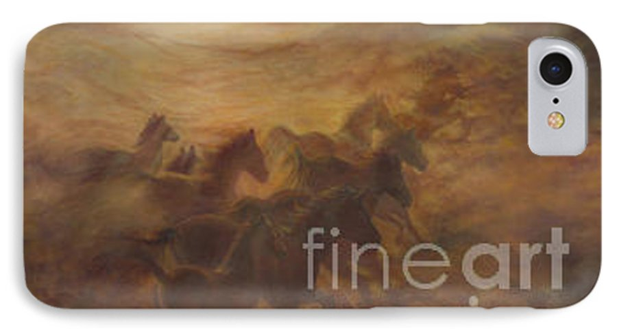 Horse IPhone 7 Case featuring the painting Racing The Wind by Wendy Froshay