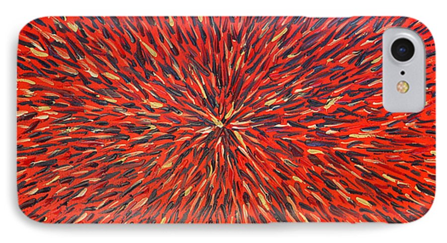 Abstract IPhone 7 Case featuring the painting Radiation Red by Dean Triolo
