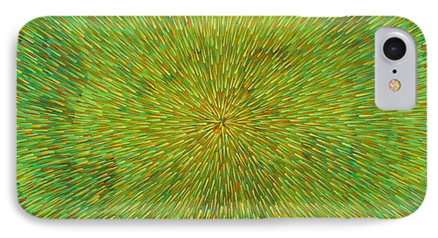 Abstract IPhone 7 Case featuring the painting Radiation With Green Yellow And Orange by Dean Triolo